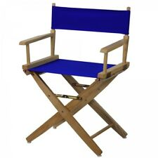 Wooden Directors Chair Portable Folding Wood Royal Blue Canvas Kitchen Outdoor