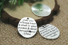 """8pcs-- May you always have a shell in your pocket ..."""" Charms silver 30mm x 26mm"""