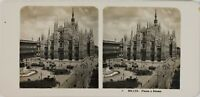 Italia Milan La Place Del Dôme Duomo, Foto Stereo Vintage Analogica PL60