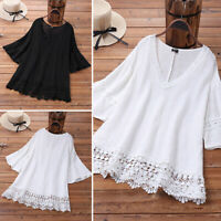 Women Flare Bell Sleeve Tops Holiday Party Blouse Cocktail Formsl Shirt Cotton