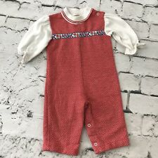 Healthtex Vintage Romper Girls Sz 18 Mos Red White Abcs
