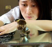 Bracelet Femme Art Deco Marron Large Magnetique Original Moderne Cadeau CT1