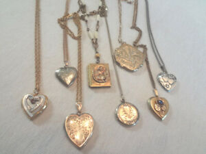 Fabulous Lot Of 8 Vintage Gold Filled & Sterling Lockets With Chains
