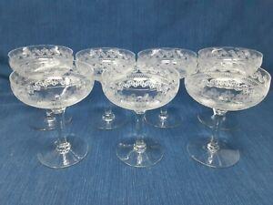 Vintage Fostoria Clover Leaf Needle Etch Champagne Glasses