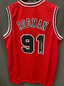 Dennis Rodman #91 Signed Bulls Basketball Jersey Autographed AUTO BAS COA Sz XL