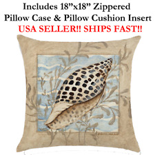 "18x18 18"" BEACH SEASHELLS CONCH NAUTICAL MARINE LIFE Zipper Pillow Case Cushion"
