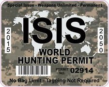ISIS WORLD HUNTING PERMIT INTERNATIONAL VINYL STICKER DECAL CAMO