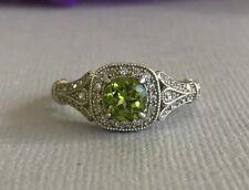 2ct Green Peridot Round-Cut Halo Vintage Engagement Ring 14k White Gold Finish