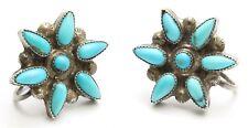 Vintage Zuni Sterling Silver Petitpoint Turquoise Cluster Flower Star Earrings