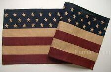 "Primitive Americana BURLAP FLAG Table Runner 13"" x 36"""