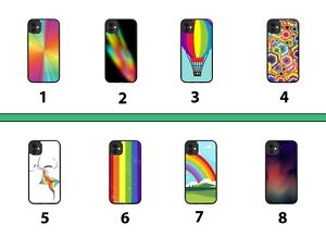 Kids Colourful Rubber Phone Case Cover Multicoloured Rainbow Fun Childs 8065A