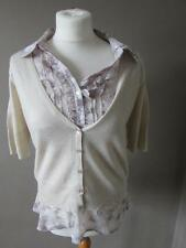 NEXT Ladies Cream Fine Knit Wool Mix Cardigan Lilac Floral Mock Blouse Size 14