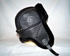 Sheepskin Natural Real Fur 100% Hat Winter Aviator men style Black Ushanka