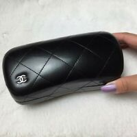 CHANEL⚡NEW Black Quilted Leather Hard Clam Sunglasses Case + BONUS 2nd Case!! 🖤