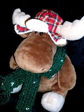 GUND Holiday Moose Igor #1065 Knit Scarf & Plaid Hat  Machine Wash/Dry