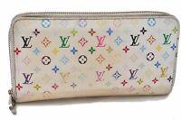 Authentic Louis Vuitton Monogram Multicolor Zippy Wallet Purse White LV B1205