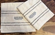 GUIDO MARIA CREAM STRIPE GUEST TOWELS X2 400 GSM LIGHT WEIGHT HAIRDRESSER TOWELS