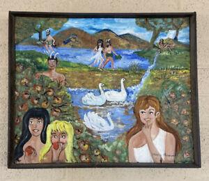 Betty & Veronica in a Pagan Garden (eden)  FOLK ART - Painting