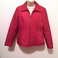Womens Talbots Red Zip Front Filled Quilted Jacket Coat Size 8 Petite
