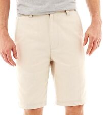 """St Johns Bay Mens Size 34 Legacy Flat Front Short 10"""" Inseam Classic Stone NWT"""