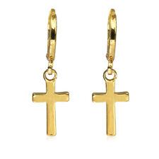 Women 925 Silver Cross Dangle Hoop Earring Gold Silver Engagement Jewelry Ear