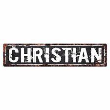 SLND0597 CHRISTIAN Street Chic Sign Home man cave Decor Gift Ideas