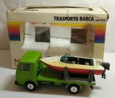 BURAGO VINTAGE DIECAST 1:43 SCALE FIAT 50NC BOAT TRANSPORTER WITH BOAT COD.1512