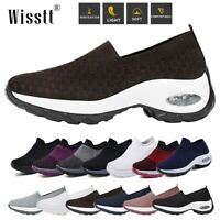Womens Ladies Sneakers Breathable Trainers Air Cushion Slip On Sport Shoes Sizes