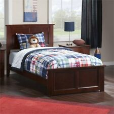 Leo & Lacey Twin Panel Platform Bed in Walnut