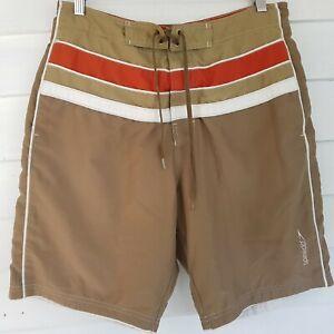 Speedo Swim Trunks Shorts Medium Striped Drawstring Brown Red Pockets Retro
