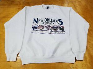 Cajun Country New Orleans Mardi Gras Louisiana Long Sleeve Lee Sweatshirt Sz L
