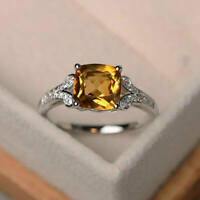 Solid 14K White Gold Natural Diamond Rings 2.95 Ct Citrine Wedding Ring Size O P