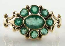 'ENGLISH 9K 9CT GOLD VINTAGE INS EMERALD CLUSTER RING FREE RESIZE