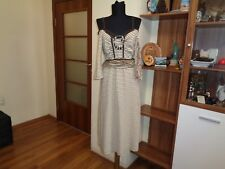 SAVE THE QUEEN BEIGE/BROWN STRIPED STRETCH JERSEY BEADS EMPIRE LINE KNEE DRESS-L