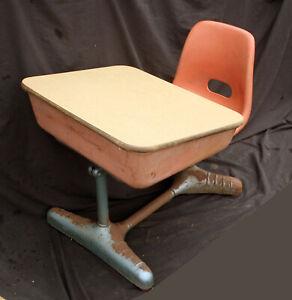 Vintage Old Art Deco Adjustable Metal Wood Child Kid School Student Desk Chair