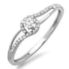 0.16 Ct 10k White Gold Round Cut Diamond Ladies Engagement Bridal Promise Ring
