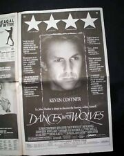 """Best """"DANCES WITH WOLVES"""" Film Movie Opening Day AD & Review 1990 L.A. Newspaper"""