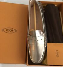 Tod's Gommini Driving Moccasin leather Loafer flats Metallic Silver BNIB 41 10