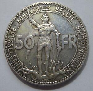BELGIUM – 50 Francs 1935 Silver -  Brussels Wordl Fair – Dutch Lettering XF