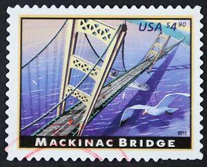 U.S. Used #4438 $4.90 Mackinac Bridge, Superb. Magenta CDS Cancel. A Gem!