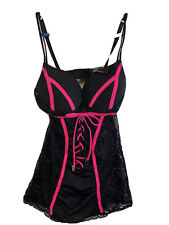 NWT Large Playboy Intimates Black lace bunny logo corset and thong combo