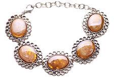 Alluring Anitique Chrome & Translucent Amber Stone & Metal Bracelet(Zx108)