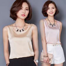 Women Satin Vest Basic Sleeveless Loose Sweat Shirt Camisole Blouse Tops Stylish