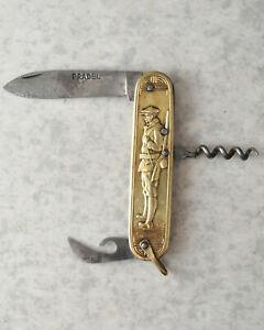 Ancien couteau Pradel, style coursolle, décor chasse
