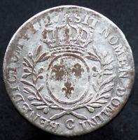(RARE NON COTé) 1/2 ECU 1727 C - FRANCE / CAEN - LOUIS XV (Argent / Silver)