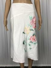 ** SUSSAN ** BNWT $89.95 * Sz 8 White Linen Floral Embroidered Skirt - (B178)