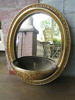 Vintage Oval mirror wall pocket planter gold ornate Pretty!