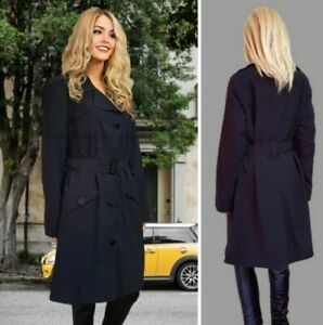 M&S COAT SIZE 16 BLACK TRENCH SINGLE BREASTED KNEE LENGTH BELTED #K