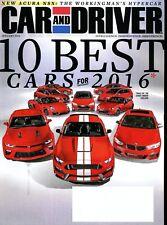 Car and Driver Magazine January 2016 Acura NSX, BMW X6 M, Mercedes AMG GLE63