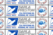 Snail Mail - Custom Return Address Stamps  Sheet of 40 - Dry-Gummed & Perforated